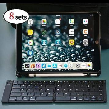 XuBa Teclado Bluetooth Plegable Recargable Teclado de tamaño Completo para iPhone iPad iOS Mac Android Tablet (8 Piezas): Amazon.es: Electrónica