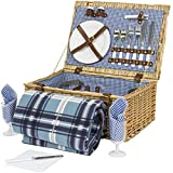Best Choice Products 2 Person Wicker Picnic Basket w/Cutlery, Plates, 2 Wine Glasses, Tableware, Fleece Blanket - Brown