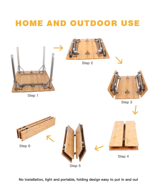 ATEPA 4-Fold Bambu Heavy Duty Adjustable Height Aluminum Frame Folding Bamboo Table with Carry Bag