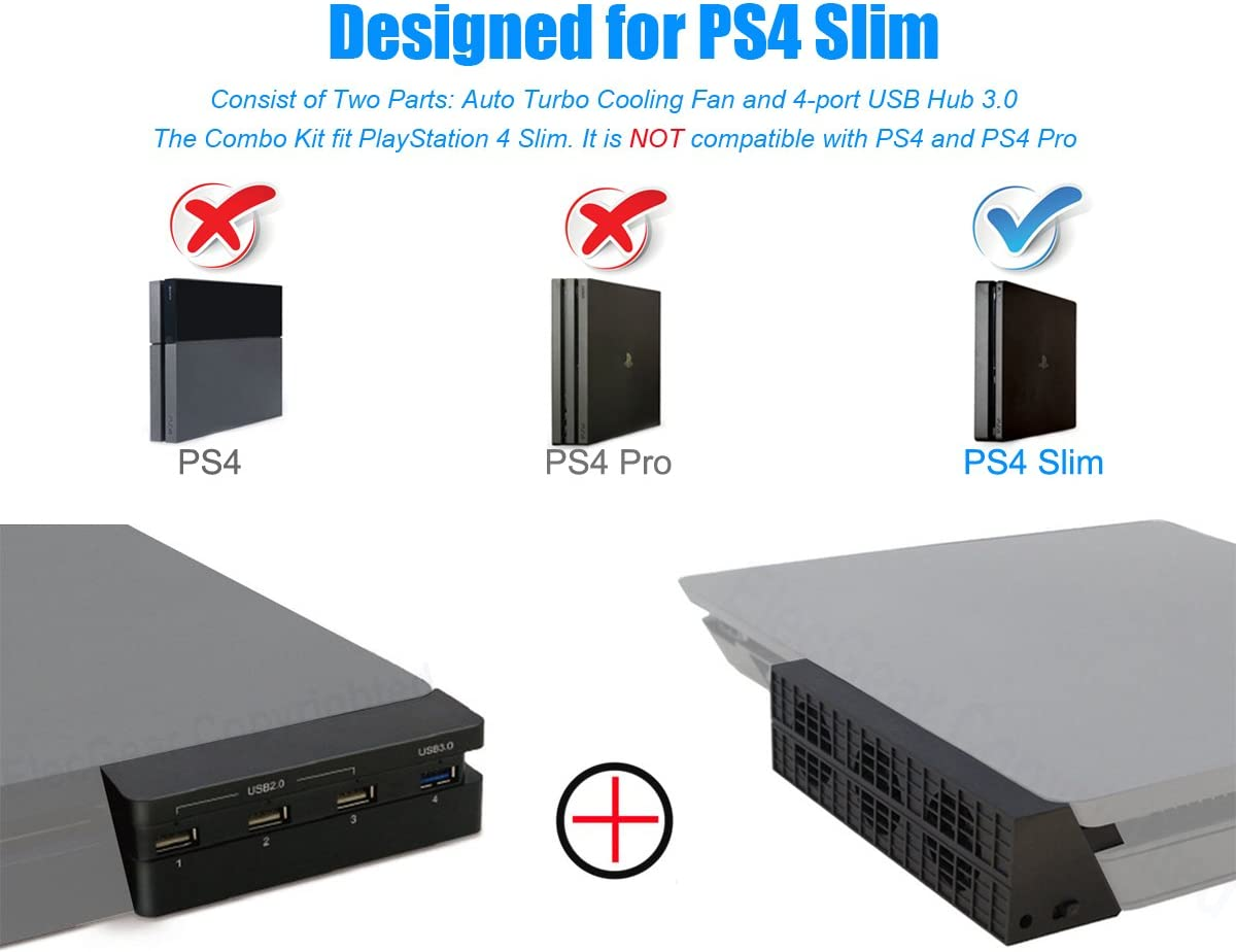 PS4 Slim Ventilador de Refrigeración & 4-Port USB Hub Combo Kit ...