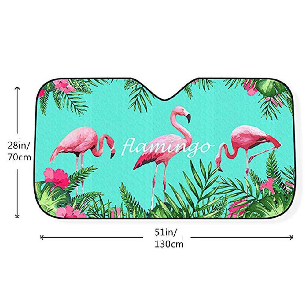 51 28 Bloque Les Rayons UV Et Maintient Le V/éhicule Au Frais Conception Avant Rabattable Finelyty Pare-Brise Pare-Brise Pare-Soleil For/êt Tropicale//Flamingo//Ciel /Étoil/é Grand Pare-Soleil