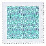 3dRose Uta Naumann Faux Glitter Pattern - Luxury Trendy Blue and Purple Moroccan Arabic Quatrefoil Tile Pattern - 25x25 inch quilt square (qs_268955_10)