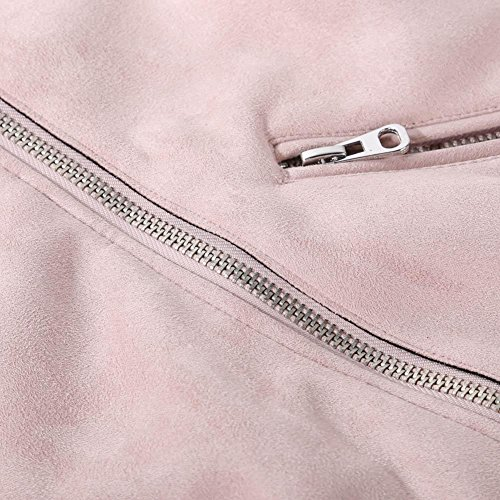 Everpert Women Coat Turn Winter Short Pink Suede Down Jacket Collar Solid M Zipper Color rqt1wrB
