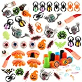 FEPITO 110 Pcs Halloween Party Favor Toys Halloween Skeleton Bat Spider Rings Kids Adults, Classroom Rewards, Trick Treat, Halloween Treat Gift Bag Fillers