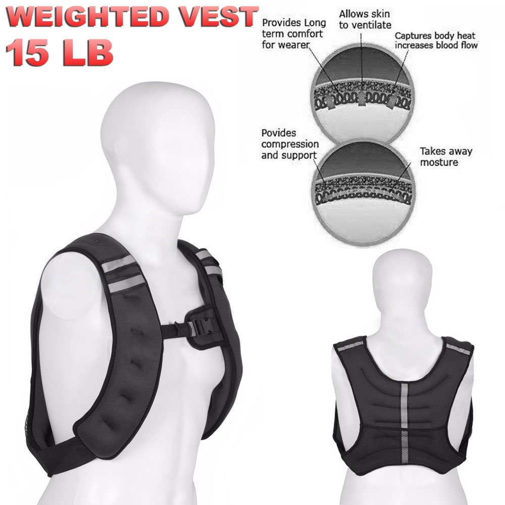 FITNESS MANIAC Weighted Vest 15LB Weight Jacket Adjustable Workout Weight Exercise Training Waist Gym Walking Running Cardio Weight Loss Muscle Building Sand Filling Weight BLACK by FITNESS MANIAC