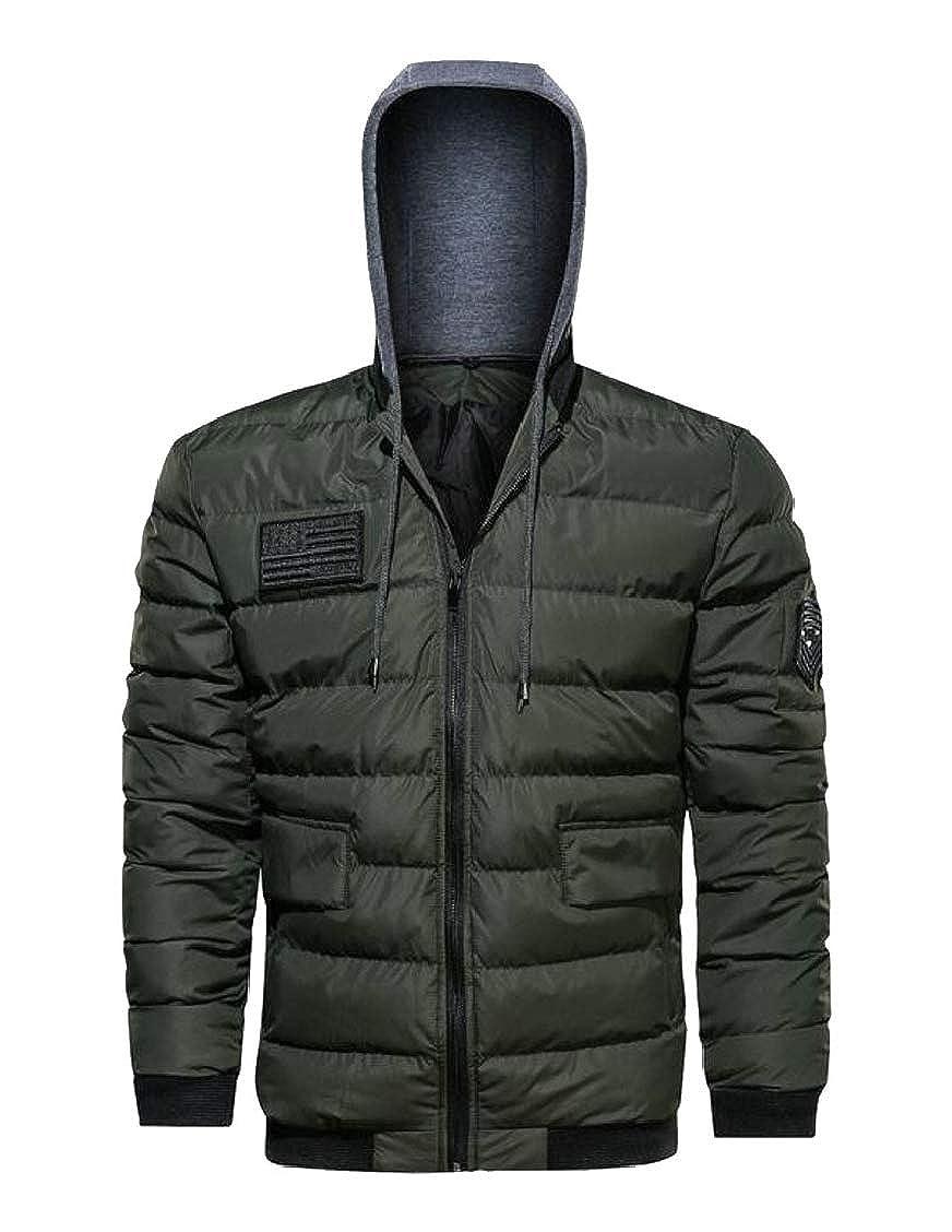 Hajotrawa Men Big /& Tall Cotton Padded Zip-Up Puffer Hooded Parka Jacket Coat