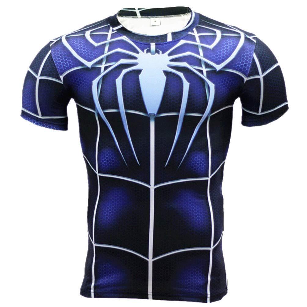 Short Sleeve Dri-fit Blue Spider Compression Athletic Shirt