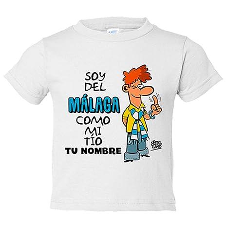 Camiseta niño soy del Málaga como mi tio personalizable con nombre - Blanco, 3-