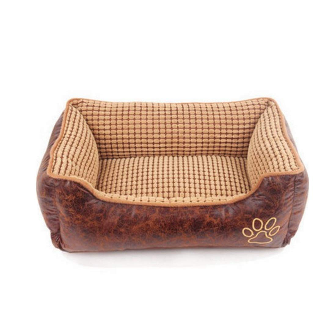 Brown S Brown S RABILTY Kennel Dog Pad Four Seasons Universal Removable Large Medium and Large Pets golden Retriever Teddy Pet Dog Bed (color   Brown, Size   S)
