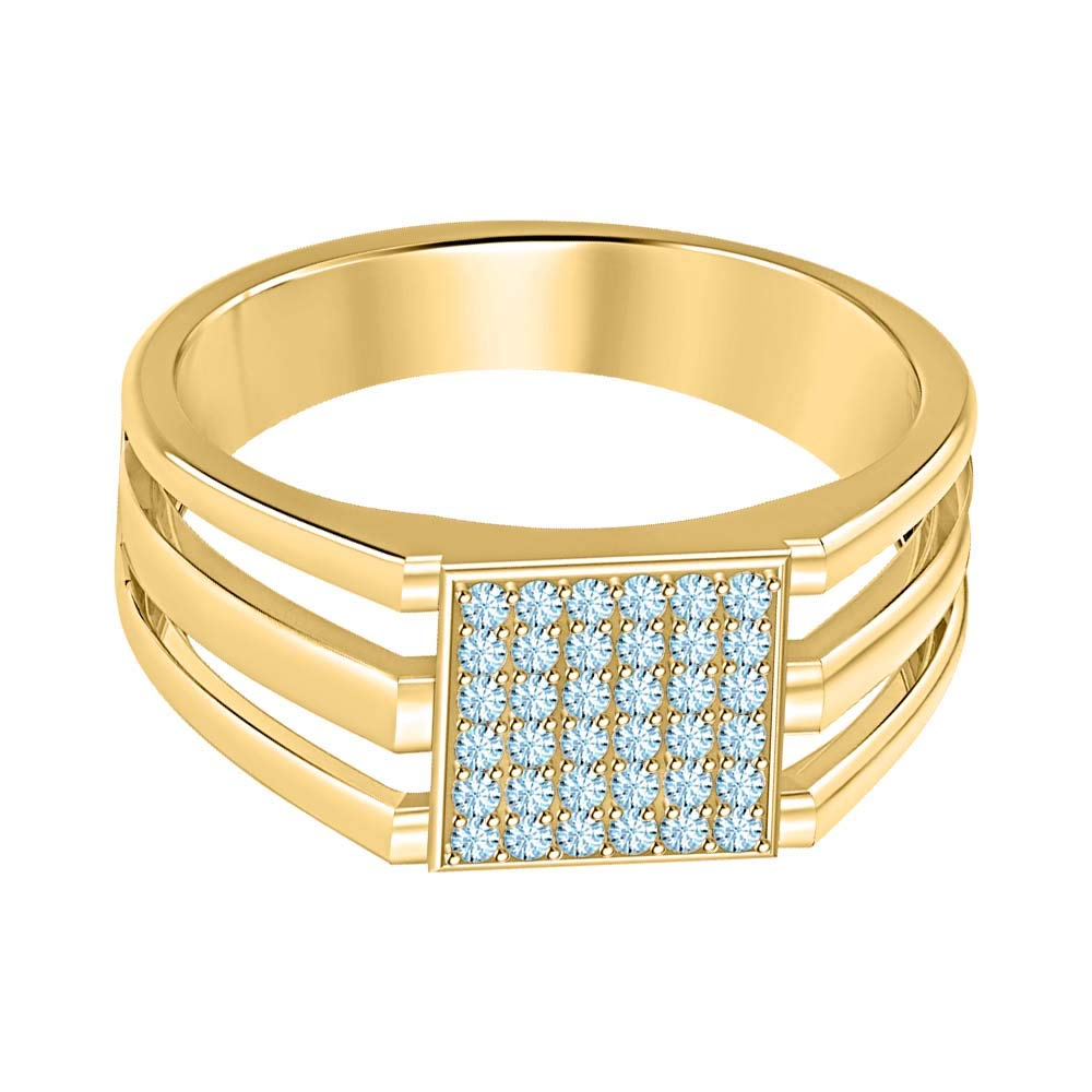 SVC-JEWELS 14k Yellow Gold Plated 925 Sterling Silver Blue Aquamarine Cluster Engagement Wedding Band Ring Mens
