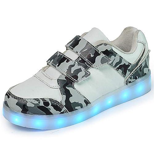 Vansney - Velcro o Cordones Zapatos Ligeros De Camuflaje para Niños Zapatos Radiantes De Niños Y
