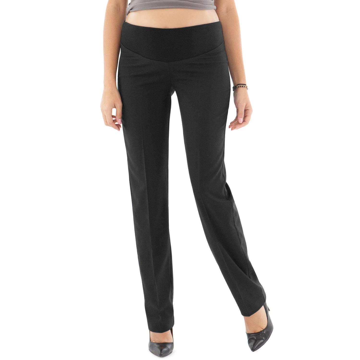 Elegant Maternity Pants, for Office or Events - Made in Italy (XL, Black) by MAMAJEANS