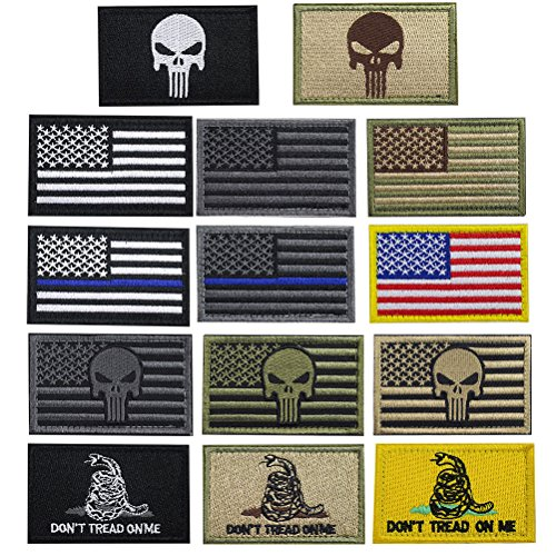 - Creatrill Bundle 14 pieces USA Flag Patch Thin Blue Line Tactical American Flag US United States of America Military Morale Patches Set for Caps,Bags,Backpacks,Tactical Vest,Military Uniforms