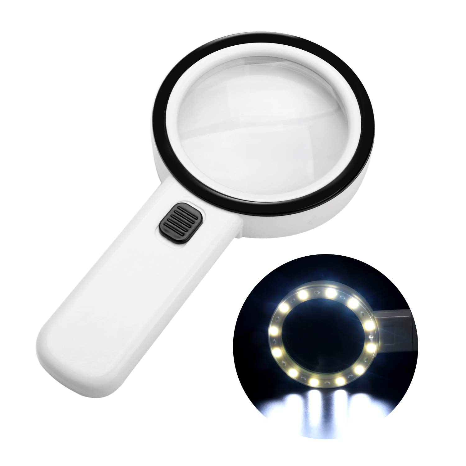 30X High Power Handheld Magnifying Glass, Double Glass Lens Jumbo illuminated Magnifier Glasses with Led Light and UV Light, for Reading, Soldering, Inspection, Coins, Jewelry, perfect for Macular Deg