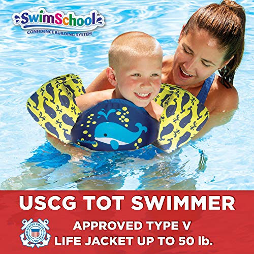SwimSchool USCG Approved TOT Swimmer with Arm Floaties, Type V Life Jacket/PFD, Medium/Large, Navy/Yellow
