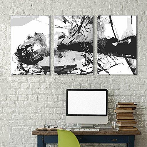 3 Panel Black Abstract Splattered Trees Brush Stroke Painting x 3 Panels