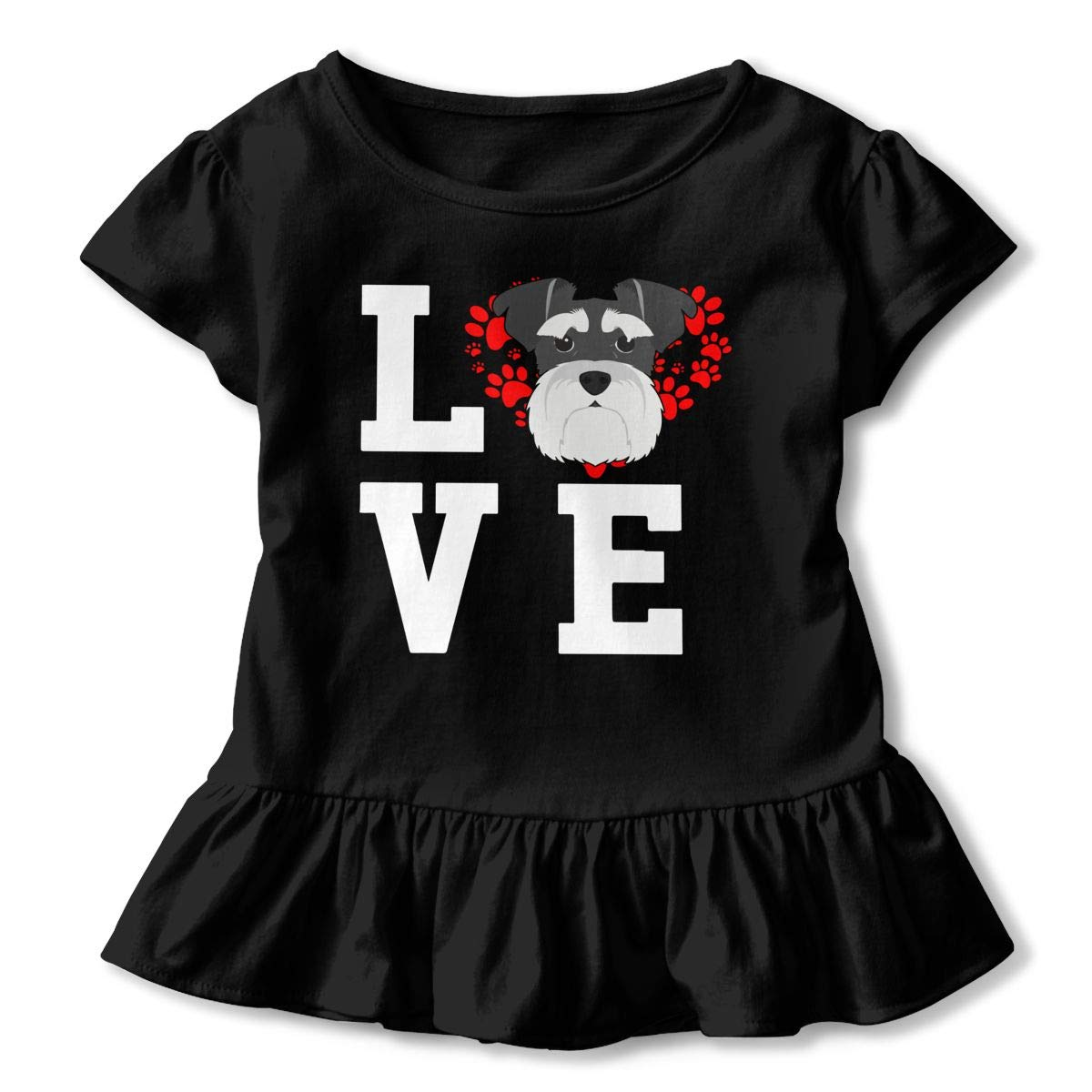 CZnuen I Love My Dog Schnauzer 2-6T Baby Girls Cotton Jersey Short Sleeve Ruffle Tee