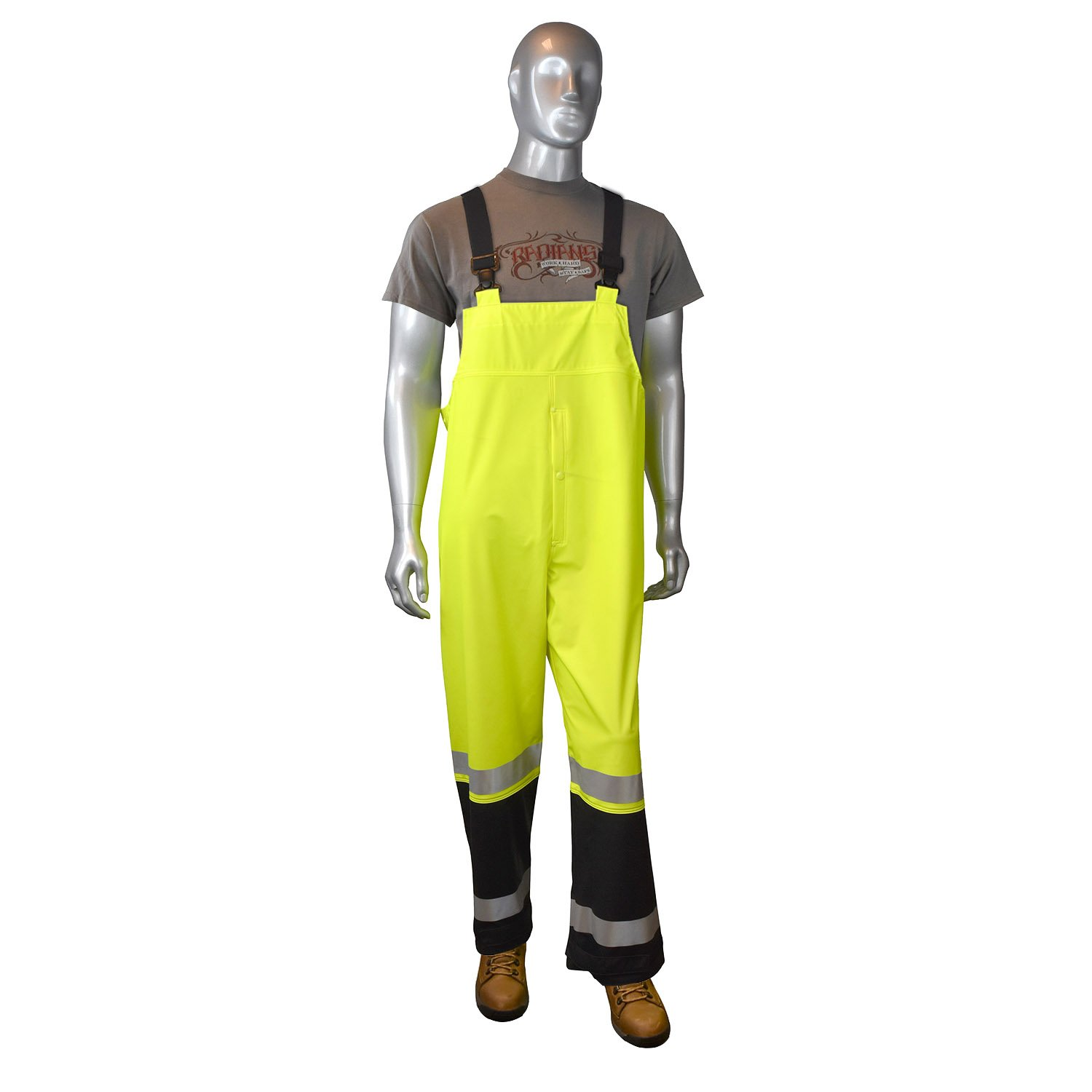 Radians RB07-ESGV-XL 35 High Visibility Rainwear Bib Style Overall Hi-Viz Green Inc X-Large