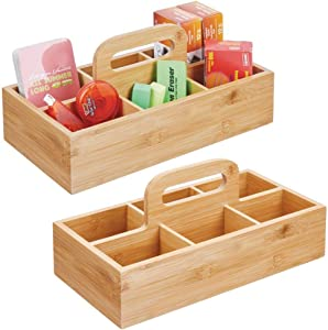 mDesign Bamboo Office Storage Organizer Tote Caddy Holder with Handle for Cabinets, Desks, Workspaces - Holds Desktop Office Supplies, Gel Pens, Pencils, Markers, Staplers - 2 Pack - Natural/Tan