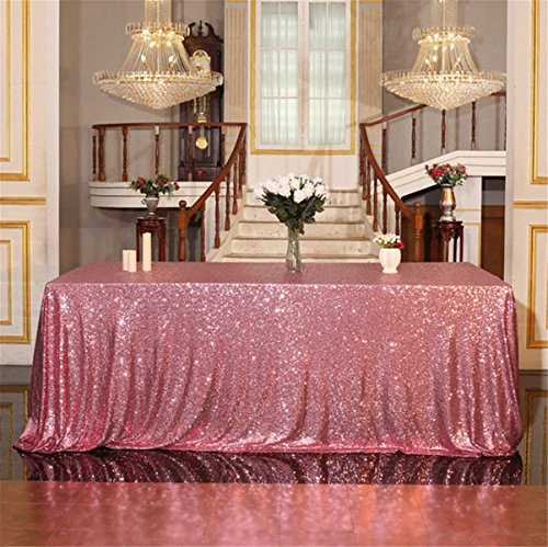 Eternal Beauty 60'' X 102'' Fuchsia Pink Sequin Tablecloth Wedding Banquet Party Rectangle Table Cover