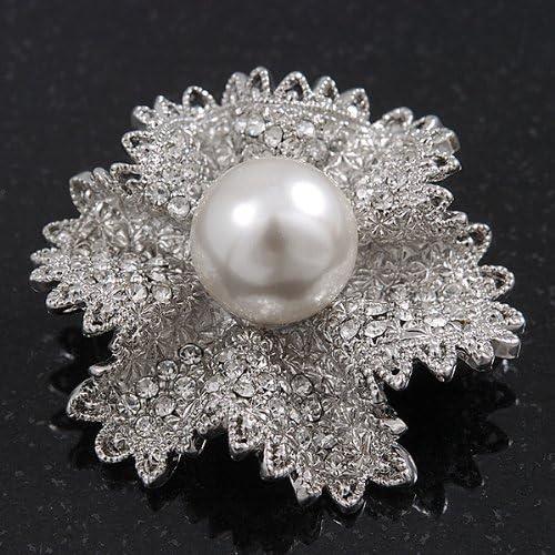 4cm Diameter Avalaya Clear Crystal Bridal Flower Brooch in Rhodium Plating