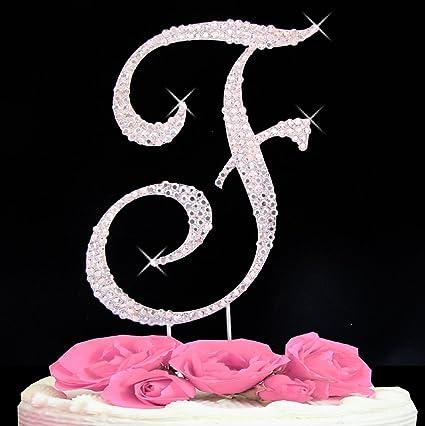 Amazon.com  Letter F - Swarovski Crystal Monogram Wedding Cake ... 9d664a64eace