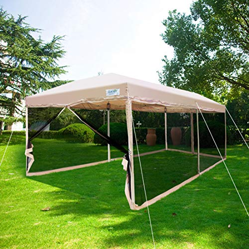 Quictent Ez Pop up Screen Canopy with Netting Screen House Tent Mesh Side Walls (Tan, 10 x 20 ft)