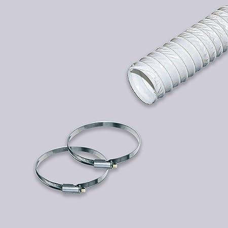 Tubo de salida de aire de PVC, 4 metros/125 mm, flexible, adecuado para campana extractora, aire acondicionado, secadora: Amazon.es: Hogar