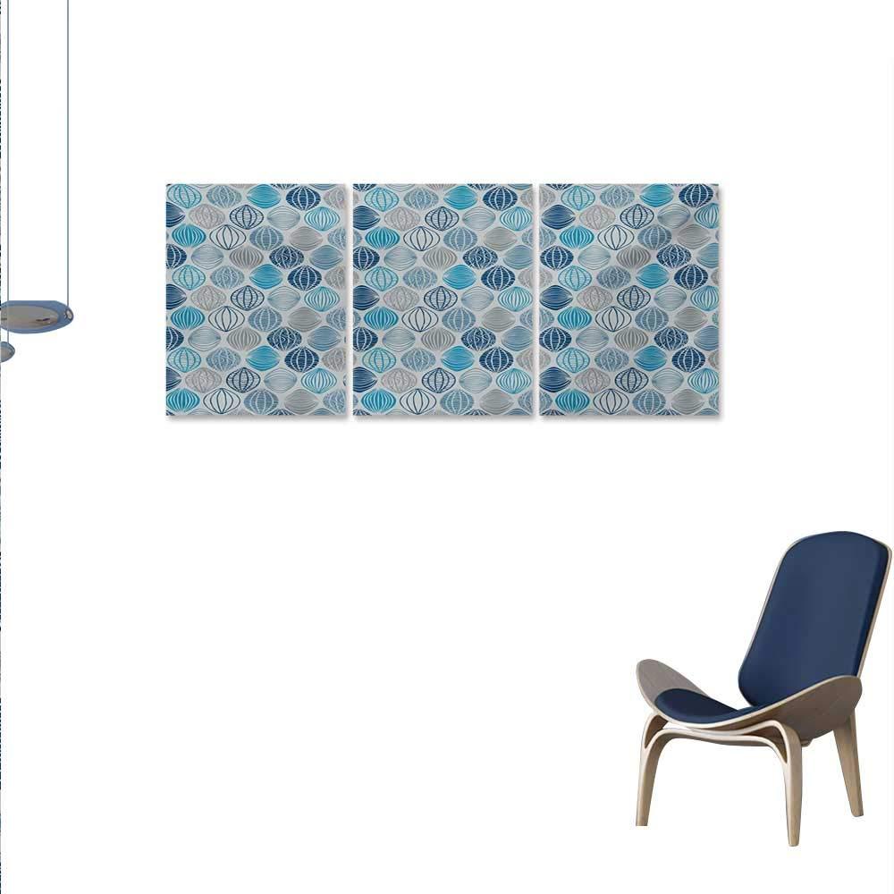 Amazon com: Grey Blue 3 Piece Canvas Wall Art Ethnic Round