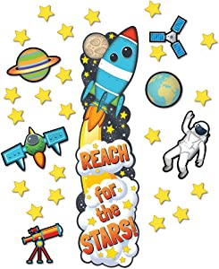 Eureka ''Reach for The Stars'' Space Themed Classroom Decoration Door Poster Kit, 34pcs, 45'' H