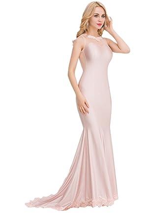 JIEYA Womens Gauze Neck Evening Dress Sleeveless Prom Dress (4-6, Beige)