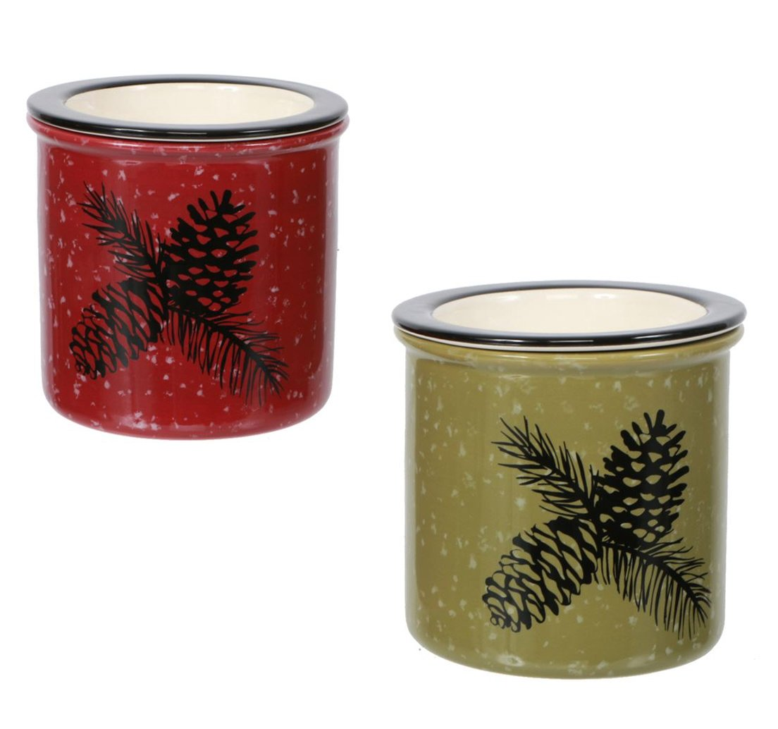 Set of 2 Woodland River Ceramic Rustic Pinecone Dip Chiller, Green & Red Dennis East