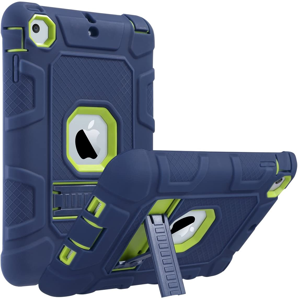 ULAK iPad Mini Case, iPad Mini 2 Case, iPad Mini 3 Case, iPad mini Retina Case, Three Layer Heavy Duty Shockproof Protective Case for iPad Mini,iPad Mini 2,iPad Mini 3 with Kickstand (Blue+Lime Green)