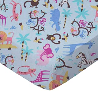 product image for SheetWorld Fitted 100% Cotton Flannel Cradle Sheet 18 x 36, Jungle Animals Blue, Made in USA