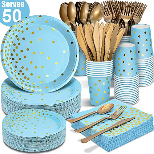 Baby Shower Plates Cups Napkins (Blue and Gold Party Supplies 350PCS Disposable Dinnerware Set - Blue Paper Dinner/Dessert Plates Napkins Cups, Gold Plastic Forks Knives Spoons For Birthday Baby Shower Wedding Hawaii Ocean)