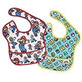Bumkins Baby Bib, Nintendo Waterproof SuperBib 2 Pack, Super Mario (Classic/Icons, NT1) (6-24 Months)