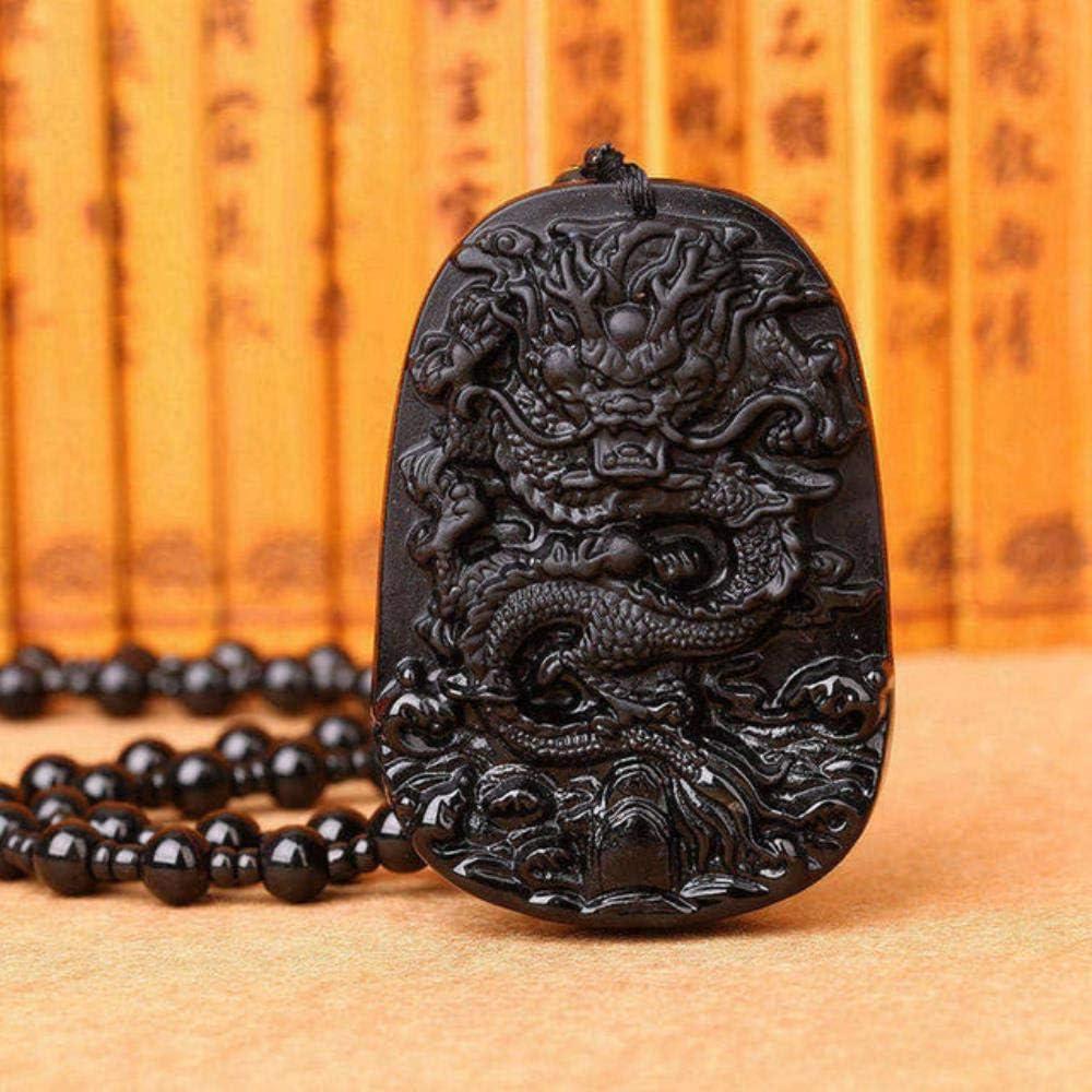 Joyería 100% 3A Collar de Piedra de obsidiana Natural Colgante Tallado a Mano Lobo Jade Joyería Curación Cristal Reiki Mujeres Hombres, Púrpura