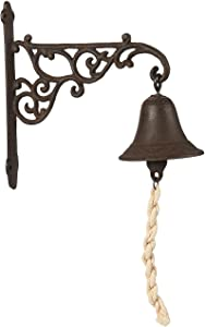Juvale Wall Mounted Rustic Cast Iron Door Bell Chime, Brown