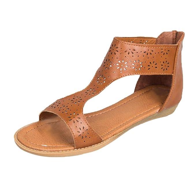 a70314b0ffd7 Women s Flat Sandals OverDose Open Toe Zip Back Gladiator Shoes(EU 35