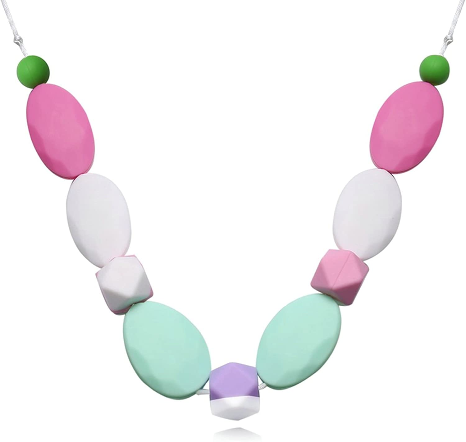 80CM Aokarry Silicone Baby Teething Necklace for Mom Oval Series Color Chain Length
