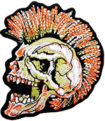 Skull Ghost Zombie Mohawk Logo Lady Rider Biker Punk Rock Heavy Metal Tatoo Patch Sew Iron on Embroidered Sign Badge Costume Clothing