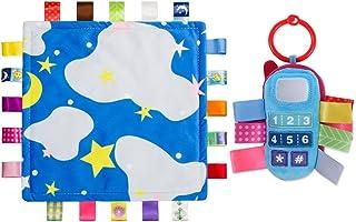 inchant Bell Ring Telefon Plüsch Spielzeug & Baby Lovely Sicherheit Decke Colorful Tags Babydecken Beruhigende Handtuch, 2PCS