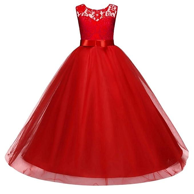 Vestido de Niña de Flores para Boda Princesa Vestidos de Dama de Honor sin Mangas Fiesta Tul Bowknot Comunión Cumpleaños Bola Pageant Paseo Baile Maxi ...