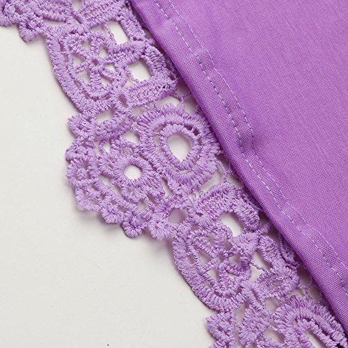 Femmes Blanche Coton Blanche Chemise Beikoard Shirt Dcontracte en Blouse Longues Blouse Dentelle Manches Violet T gqZE1