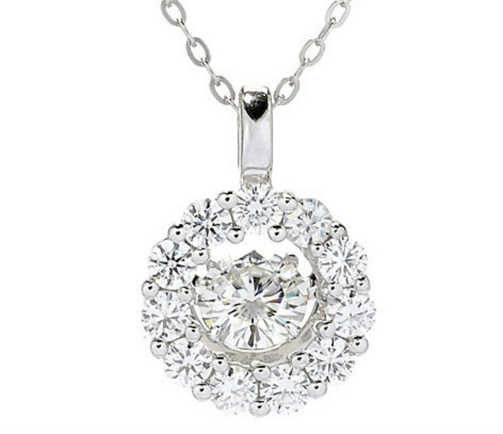 Forever Brilliant White Gold Round 5.5mm Moissanite Pendant Necklace, 1.26ct DEW By Charles & Colvard