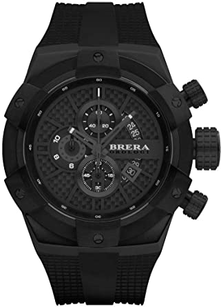 Brera Orologi Mens Supersportivo Black Back & Carbon Fiber 48mm BRSSC4903