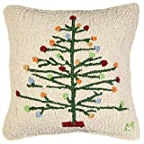 "Chandler 4 Corners Gum Drop Christmas Tree 18""x18"" Hooked Wool Pillow"