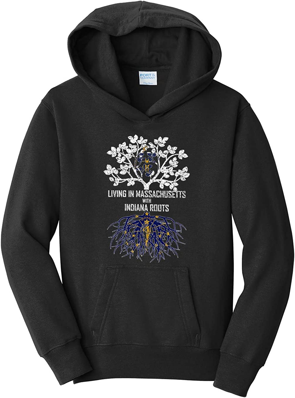 Tenacitee Girls Living in Massachusetts with Indiana Roots Hooded Sweatshirt