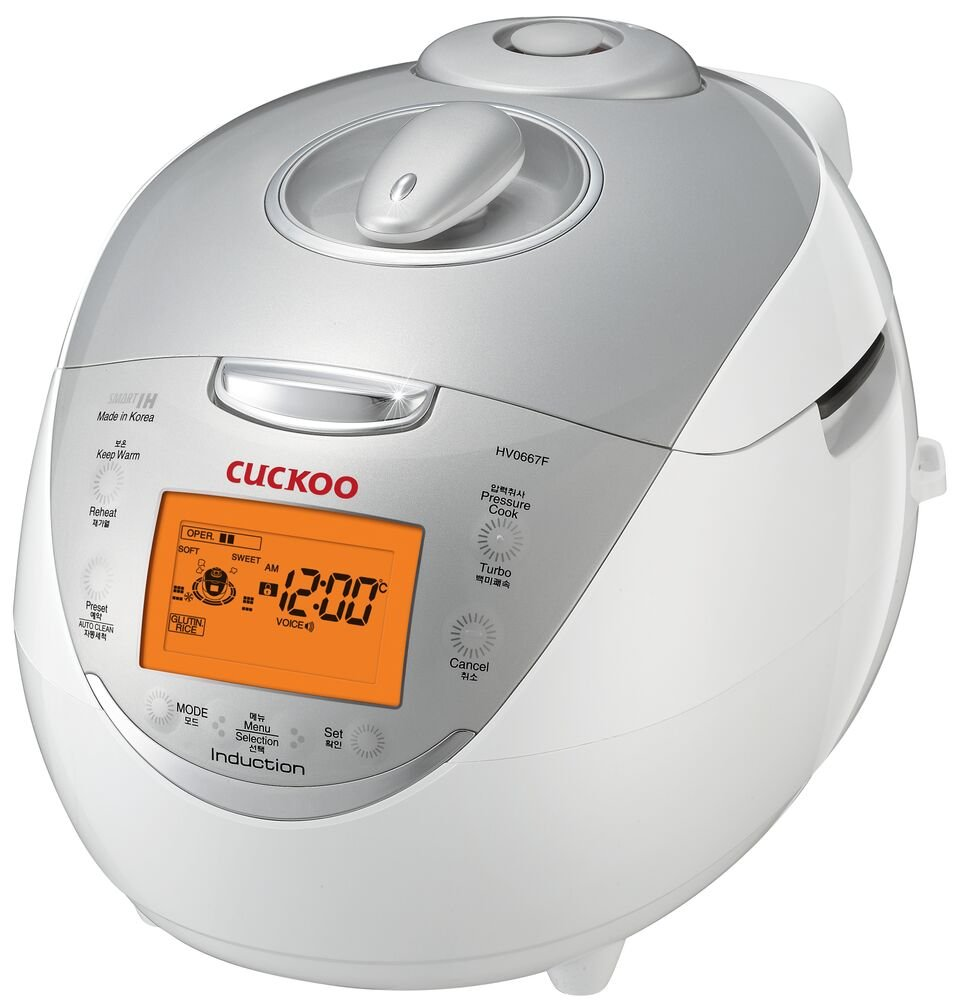 Cuckoo CRP-HV0667F 6 Cup Induction Heating Pressure Rice Cooker, 12 Menu Options, Stainless Steel Inner Pot, Made in Korea, White