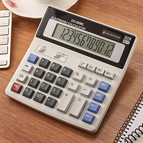 12-Digit Battery Dual Powered Handheld Electronic Business Mini Solar Basic Desktop Financial Scientific Office Calculator, Simple Desk Calculators with Large LCD Display